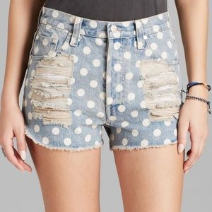 MINKPINK high waisted denim polka dot shorts